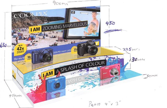 Cameras on  display with digitally printed vinyls